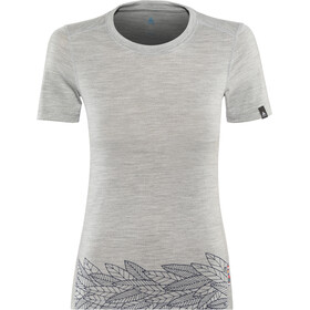 Odlo BL Alliance SS Top Crew Neck Damen grey melange-leaves on waist print ss19